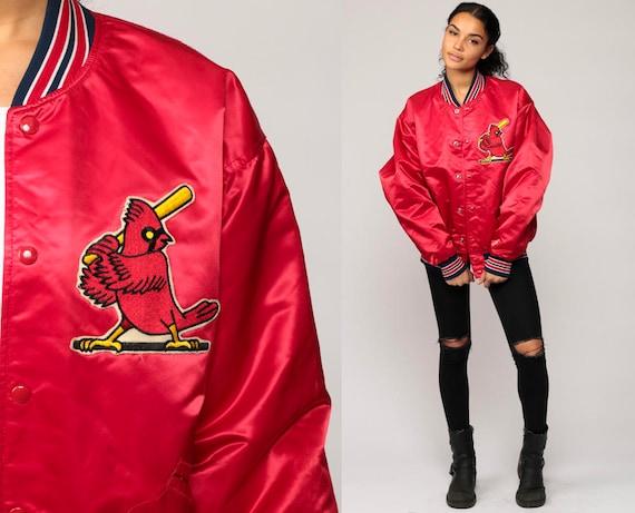 Satin Baseball Jacket ST LOUIS CARDINALS Jacket 70s Mlb Varsity Bomber Jacket Red Sports Snap Up 1970s Vintage Letterman Extra Large xl WO8RLbll
