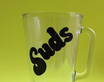 "SALE Vintage ""Suds"" Typography Glass Beer Pitcher"