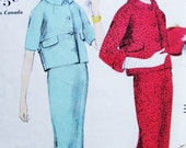 1950s Suit Pattern Vogue 9690 Stylish Slim Skirt Short Boxy Jacket Buttoned Half Belt At Back Bust 36 Vintage Sewing Pattern