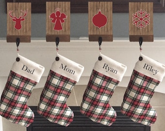Christmas stocking, personalized Christmas stocking, family Christmas stocking, lined stocking, plaid stocking, custom stocking, flannel