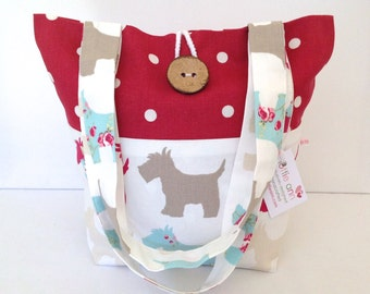 Tote Bag, Small Tote Bag, Medium Tote Bag, Fold Up Bag, Shoulder Bag, Scotties Tote, Gift for Her, Scotties, Scotty Dogs, Red Dotty Tote Bag
