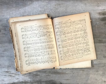Antique sheet music book piano old music sheets upcycled vintage music paper card making stationery collage origami printmaking scrapbooking