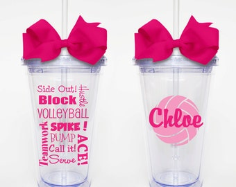 Volleyball Subway Art with Name - Acrylic Tumbler Personalized Cup