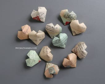 12+ origami balloon hearts || texture paper heart favors | wedding hearts | gift for unisex || limited qty -Paris postcards