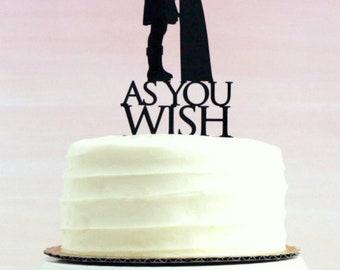 Princess Bride Wedding Cake Topper // As You Wish // Silhouette Wedding Cake Topper // Princess Buttercup and Westley