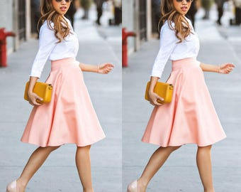 Full Circle Skirt, Pleated Skirt, Pockets, High Wasted Skirt, Lined Skirt,