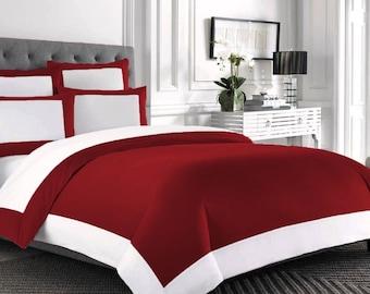 100% Cotton 800TC Designer Reversible 4pc Duvet Cover Set with Bed Skirt UK Size