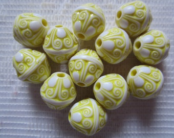 12  Bright Lemon Yellow & White Ornate Etched Puffed Saturn Acrylic Beads  13mm x 12mm