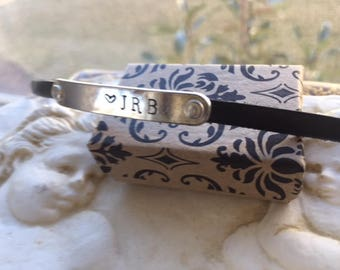 Women, girls, boys, men leather name bracelet, hand stamped silver name word or initials, customized bracelet, rectangle