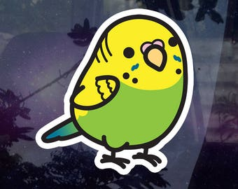 """Chubby Female Parakeet - Green 3.5"""" Sticker [Outdoor Quality]"""
