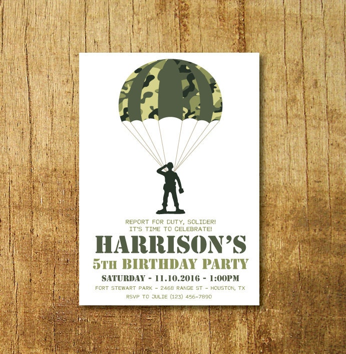 Camo Party Invitation Soldier Party Invitation Toy Soldier