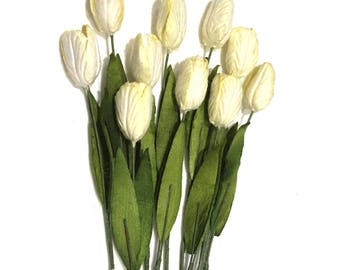 Ivory Mulberry Paper Tulips Tul002
