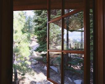 Mountain Window Photo Rustic Home Decor Yosemite Picture Green Tree Print California Art Nature Living Room Peaceful Bedroom Zen Wall Art