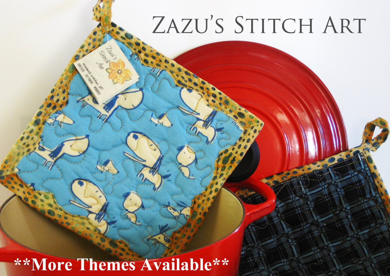 2 Potholder Set Quilted Hot Pads Blue Puppy Dog Theme Fabric