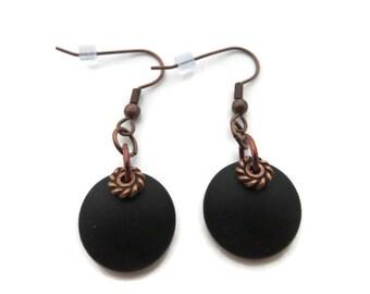 Black Earrings, Black Beach Glass Earring, Recycled Glass, Round Black Dangle, Black Sea Glass Earring, Black Dangle, Jet Black Drop