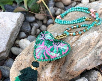 Mexican Heart Necklace Frida Kahlo