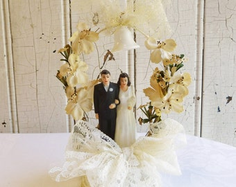 Vintage 1940s Wedding Cake Topper - Mid-Century Bride and Groom, Fabric Flowers and Plastic Bell - Bridal Shower or Wedding Decoration
