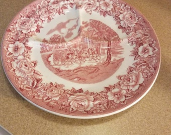 Shenango China New Castle Pa USA Pink Section Plate