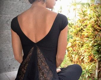 Sati top  ~ Yoga top ~ Black Lace top ~ Lace Tank top ~  Women ~ Sati Creation