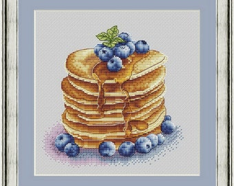 Pancake Cross Stitch Pattern PDF Instant Download Berry Cross Stitch Blueberry Cross Stitch Delicious Cross Stitch Breakfast Cross Stitch