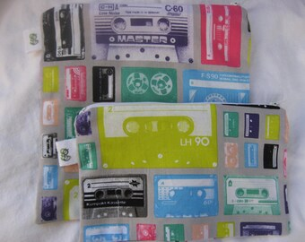 Reusable Zipper Sandwich & Snack Bags BPA Free Eco Friendly Set of 2 Cassette Tapes Retro Party Music