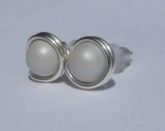 Pastel Grey Pearl Stud Earrings (8mm), Swarovski Pearl Stud Earrings, Wire Wrapped Sterling Silver Stud Earrings, Grey Stud Earrings