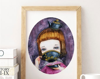 TEA TIME - Alice in Wonderland keeps many secrets on a watercolor painting of the tea party and Alice drinking from a teapot by Danita