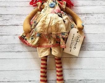 Rainbow Floral Sweet Primitive Annie - Primitive Raggedy Ann Doll