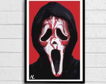 Ghostface from Scream Illustration #1, Horror Movie Pop Art, Halloween Home Decor Poster, Scary Film Print Canvas