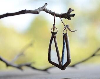 Modern tin glass earrings, girlfriend gift, geometric jewelry