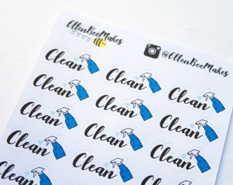 Clean (Hand Lettering Effect) Stickers
