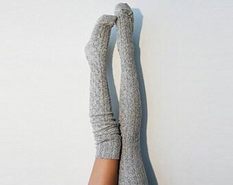 Thigh High Socks, White&Black Sweater Socks, Women's Long Over the Knee Socks, Knitted Boot Socks, OTK Thigh Highs, Stockings, PM-088S