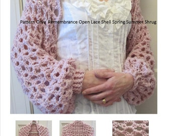 Crochet Pattern Shrug Bolero Long Sleeve Sweater