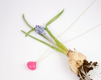 Hot Pink Chalcedony Gemstone Necklace, Dainty gemstone necklace