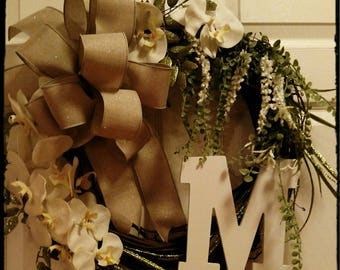 Monogram Wreath. Anniversary Wreath, Wedding Wreath, Front Door Wreath, Every Day Wreath,  Perfect for gifting with a personal touch.