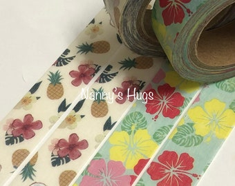 New washi tape- pineapple/ tropical/hibiscus flowers decorative tape / paper tape planners/scrapbooking decor