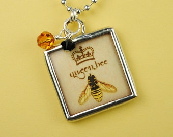 Queen Bee Necklace Bee Pendant Soldered Glass Art Charm