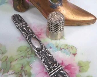 Sterling Silver Needle Case Holder Ornate Floral Repousse Design Art Nouveau