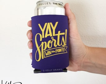 "Purple and Gold Foam ""Yay Sports! Win The Points!"" Beverage Insulator Can Cooler Football Team Spirit"