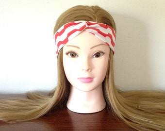 Light Muted Red and White Print Turban Twist Headband