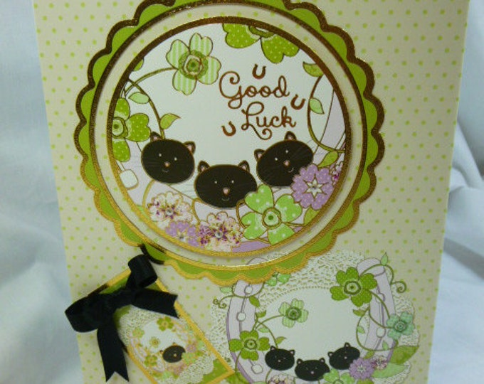 Black Cat Greeting Card, Any Occasion, Good Luck Card, Engagement, New Job, Horse Shoes, Black Cats, Flowers,Male or Female,