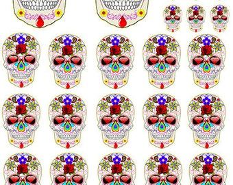 Sugar Skulls 3 ~ 81056 ~ Fusible Glass Decal ~ Ceramic Decal ~ Images Designed for Jewelry
