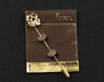 "1970's TRIFARI LOVE Stickpin, Gold Tone, Excellent Condition, 2-7/8"" Long, 7/16"" Wide, MOD Design."