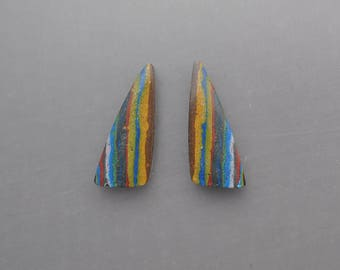 Rainbow Calsilica Pair