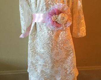 Girls Long Sleeve Lined Ivory lace dress; flower girl dress, Easter Dress,
