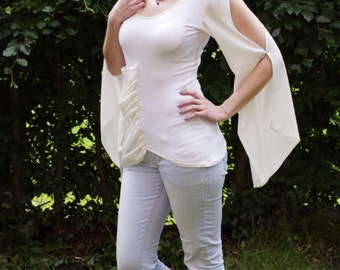 T-shirt, white, slotted sleeves, size 36
