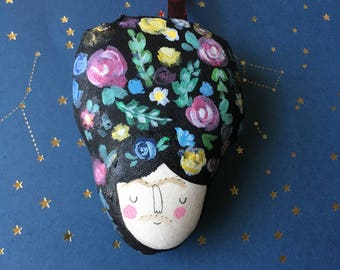 made to order- Miniature Frida Kahlo head - One of a Kind Ornament