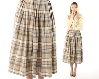 Vintage 50s High Waisted Skirt Full Pleated Tea Length Tan Plaid Silk 1950s Medium M Sport Whirl Rockabilly Pinup