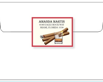 Matching Mailing LABEL for CIGARS & DRINK invitation