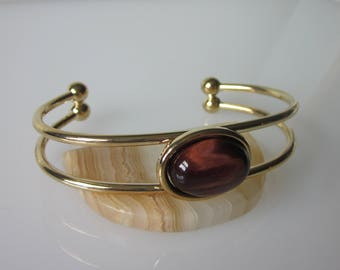 "Gold Cuff Bracelet, Gemstone Cuff, Red Tiger Eye, Cameo Bracelet, 18mm x 13mm Cabochon, Minimalist Bracelet, Cuff Fits 5.5"" to 7.5"" Wrists"